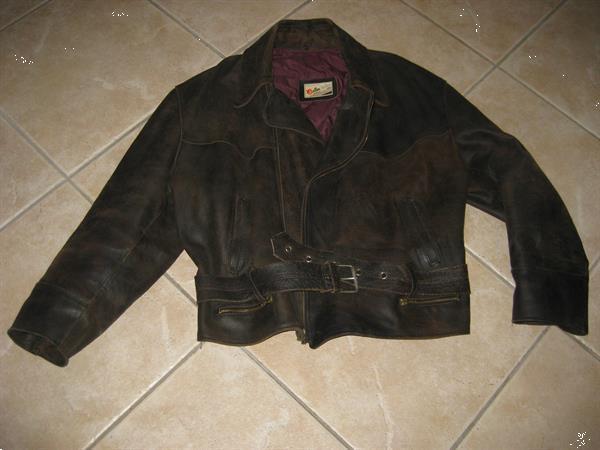 Grote foto leren vintage herenjack kleding heren lederen kleding