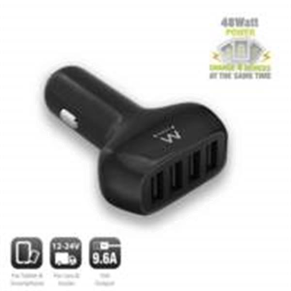 Grote foto ewent usb car charger four port 9.6a telecommunicatie opladers en autoladers