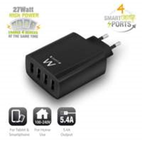 Grote foto ewent usb charger 110 240v 4 port smart charging 5.4a black telecommunicatie opladers en autoladers