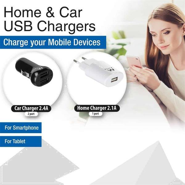 Grote foto ewent 15 x usb home charger ew1264 and 15 x usb car charger telecommunicatie opladers en autoladers