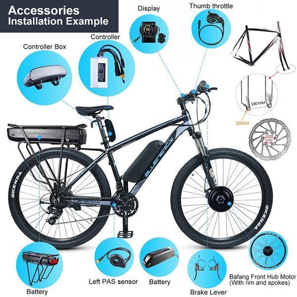 Grote foto bafang voorwiel motor 48v 500w e bike conversie kit fietsen en brommers elektrische fietsen