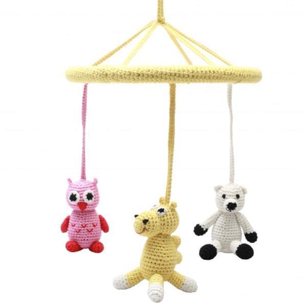 Grote foto mobiel uil kameel ijsbeer gehaakt junior 24 cm multicolo kinderen en baby babyspeelgoed
