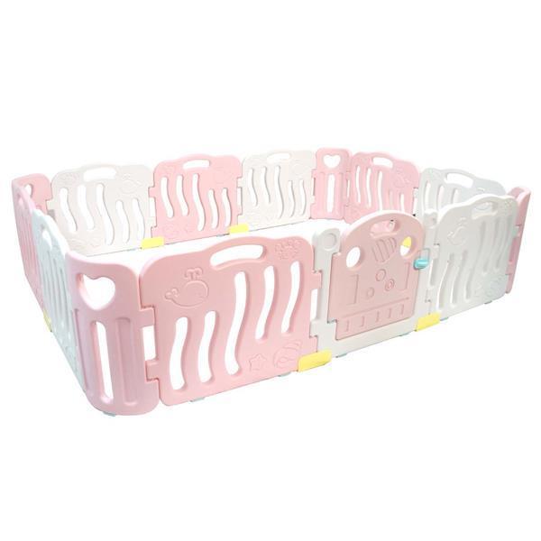 Grote foto playpen grondbox kunststof roze wit 14 panelen kinderen en baby boxen