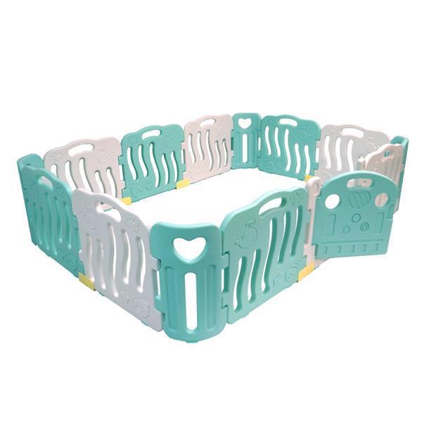 Grote foto playpen grondbox kunststof turquoise wit kinderen en baby boxen