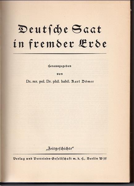 Grote foto deutsche saat in fremder erde 1934 boeken politiek en maatschappij