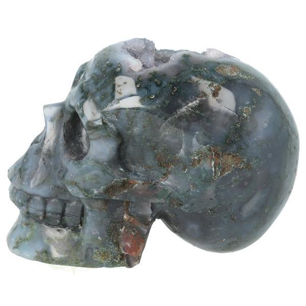 Grote foto mosagaat geode schedel 513 gram verzamelen overige verzamelingen