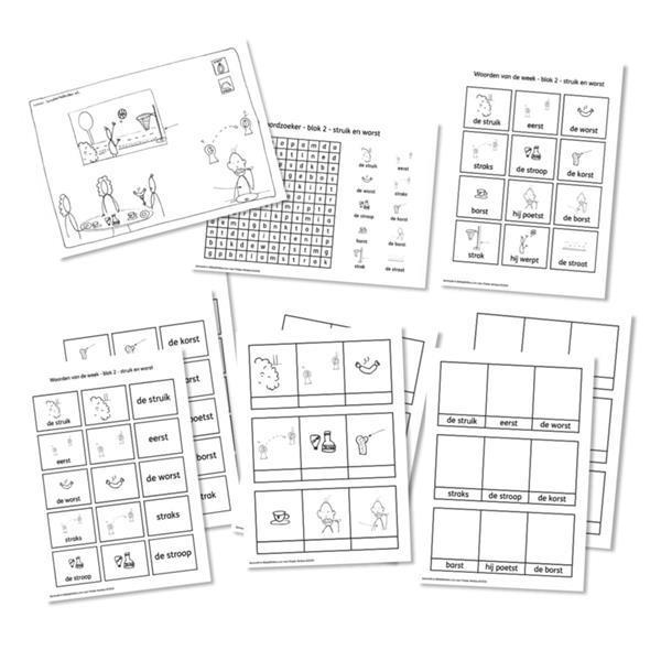 Grote foto spellingkleurplaten blok 2 struik en worst pdf bestand kinderen en baby overige
