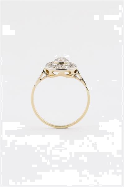 Grote foto oude 9 krt. entourage ring met oud geslepen briljant sieraden tassen en uiterlijk ringen voor haar