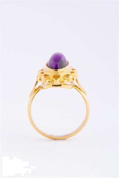 Grote foto 22 krt. gouden ring met cabochon geslepen amethist sieraden tassen en uiterlijk ringen voor haar