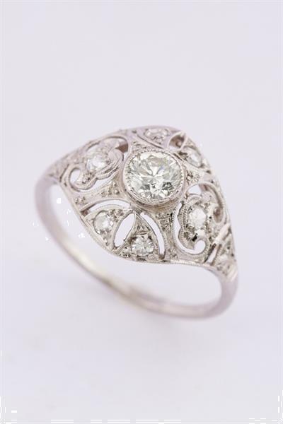 Grote foto antieke platina art d co ring met 7 oud geslepen briljanten sieraden tassen en uiterlijk ringen voor haar