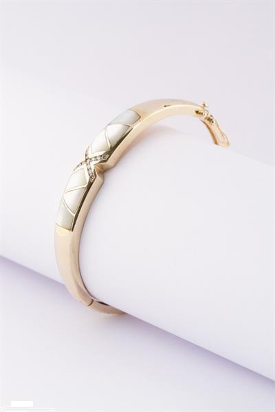 Grote foto gouden slavenarmband met parelmoer en briljante sieraden tassen en uiterlijk armbanden voor haar