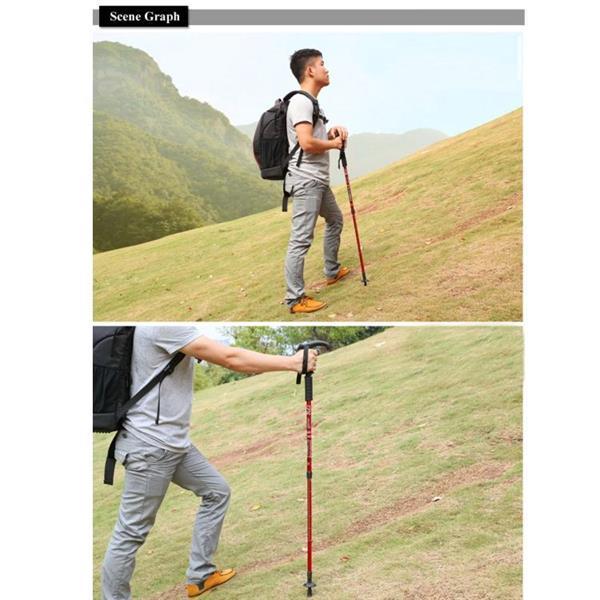 Grote foto 132cm retractable three outdoor trekking poles telescopic caravans en kamperen kampeertoebehoren