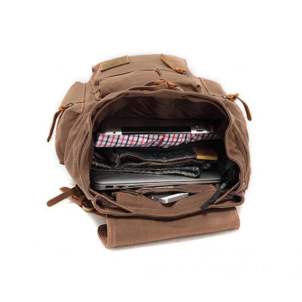 Grote foto augur 1039 mannen retro canvas backpack schouders laptop bag caravans en kamperen kampeertoebehoren
