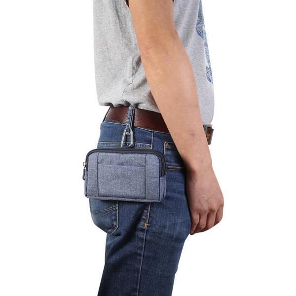 Grote foto sports denim universal phone bag waist bag for 5.5 6.3 inch caravans en kamperen kampeertoebehoren