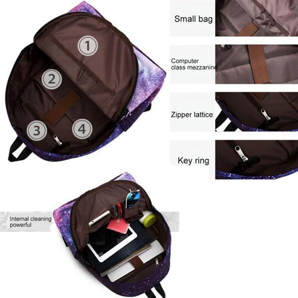 Grote foto starry pattern print rugzak school schouders tas met pen bag caravans en kamperen kampeertoebehoren