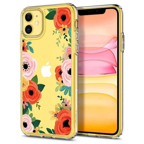 Grote foto spigen cyrill cecile apple iphone 11 hoesje orange floral telecommunicatie apple iphone