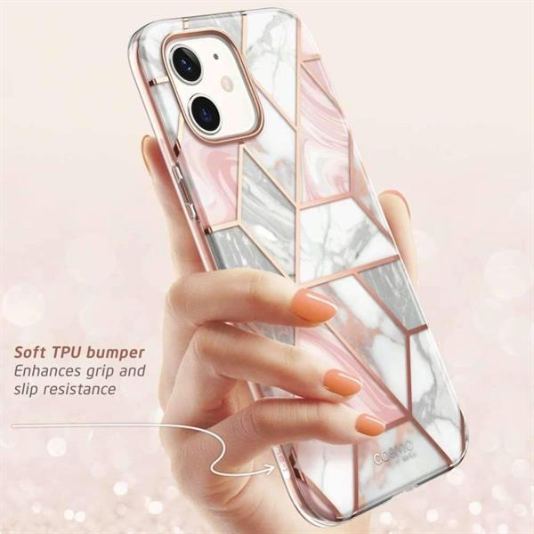 Grote foto supcase apple iphone 12 mini cosmo case marble pink telecommunicatie apple iphone