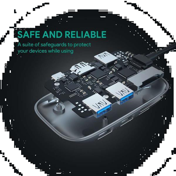 Grote foto aukey usb c hub met 3 usb poorten zwart telecommunicatie opladers en autoladers