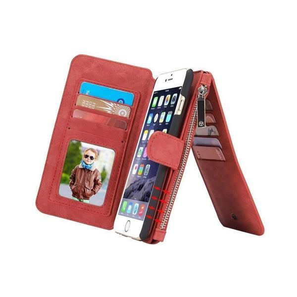 Grote foto caseme apple iphone 6 6s retro portemonnee hoesje rood telecommunicatie apple iphone