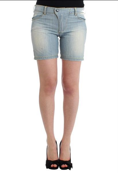 Grote foto ermanno scervino beachwear blue denim city casual dress shor kleding dames broeken en pantalons