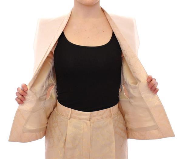 Grote foto zeyneptosum beige brocade sleeveless jacket vest it40 s kleding dames jassen zomer