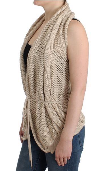 Grote foto costume national beige sleeveless knitted cardigan s kleding dames truien en vesten