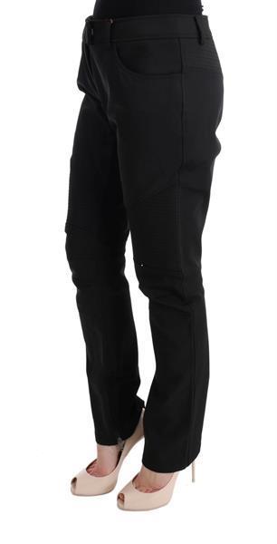 Grote foto ermanno scervino black cotton slim fit casual pants it48 xxl kleding dames spijkerbroeken en jeans