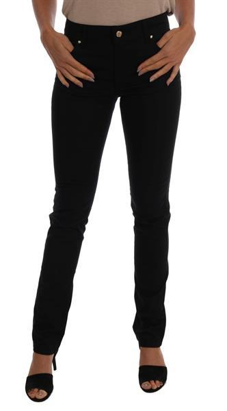 Grote foto versace jeans black cotton stretch slim denim pants w26 kleding dames spijkerbroeken en jeans