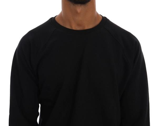 Grote foto daniele alessandrini black crewneck cotton pullover sweater kleding heren truien en vesten