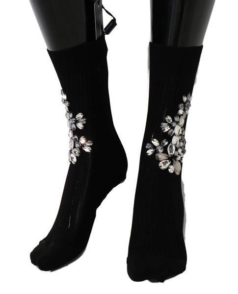 Grote foto dolce gabbana black knitted floral clear crystal socks m kleding dames sokken en kousen