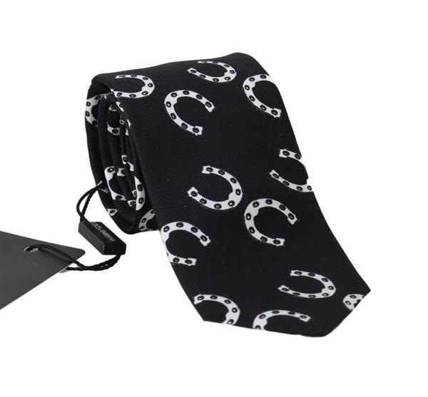 Grote foto dolce gabbana black silk horseshoe print classic tie kleding dames sieraden