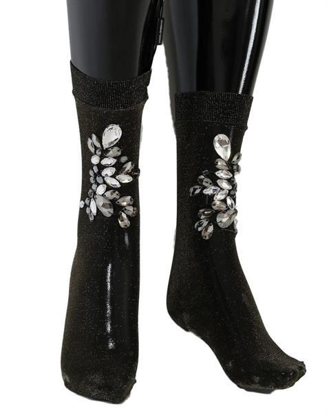Grote foto dolce gabbana black stretch floral clear crystal socks m kleding dames sokken en kousen