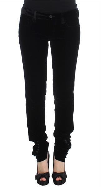 Grote foto ermanno scervino black viscose blend velvet slim fit pants i kleding dames spijkerbroeken en jeans