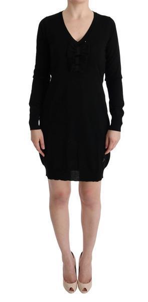 Grote foto marghi lo black wool long sleeve shift dress it42 m kleding dames jurken en rokken