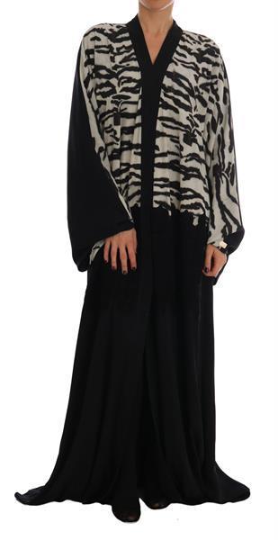 Grote foto dolce gabbana black zebra kaftan abaya cape silk dress it4 kleding dames jurken en rokken