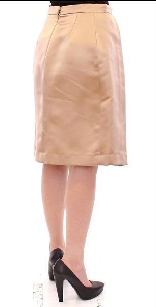 Grote foto andrea incontri brown silk solid mini pleated skirt it44 l kleding dames jurken en rokken