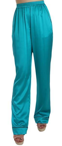 Grote foto dolce gabbana aqua blue silk stretch trousers pyjama pants kleding dames spijkerbroeken en jeans