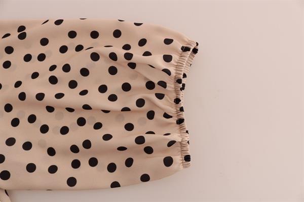 Grote foto dolce gabbana beige polka dotted silk blouse it48 xl kleding dames t shirts