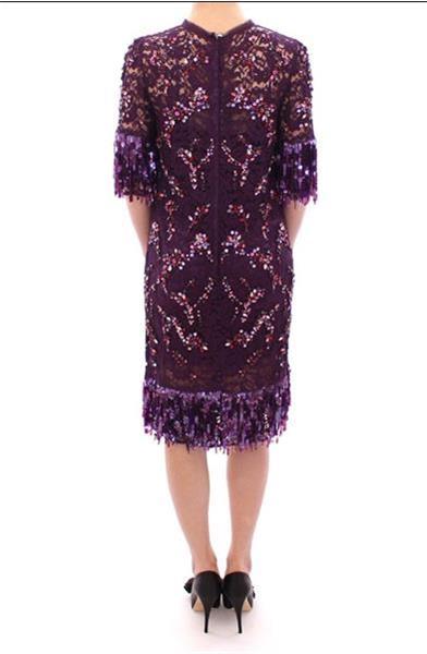 Grote foto dolce gabbana dolce gabbana purple floral lace crystal e kleding dames jurken en rokken