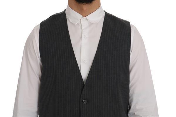 Grote foto dolce gabbana gray staff cotton striped vest it50 l kleding heren truien en vesten