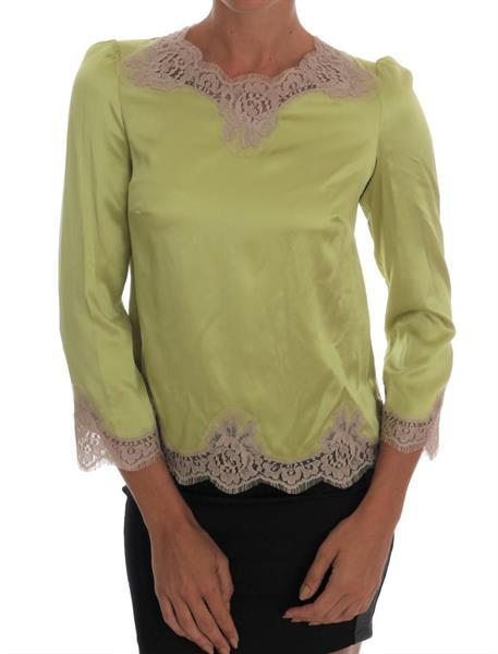 Grote foto dolce gabbana green silk stretch blouse top it38 xs kleding dames t shirts