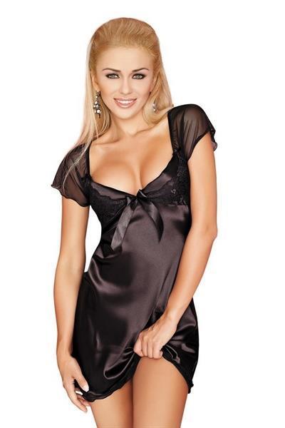 Grote foto nachthemd zwart satijn korte mouwtjes maat s kleding dames ondergoed