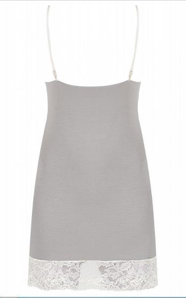 Grote foto nachtjurkje grijs met wit kant maat s kleding dames ondergoed
