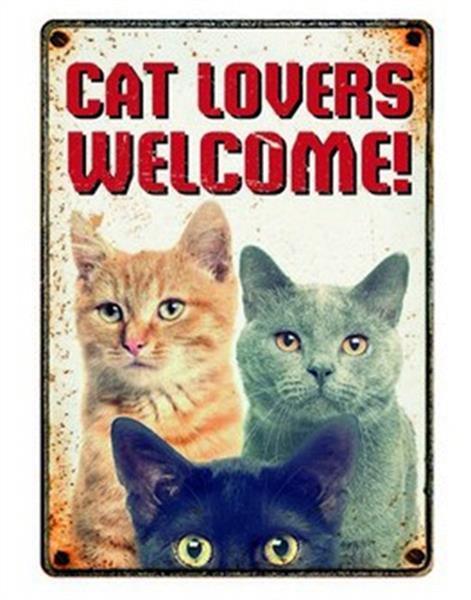 Grote foto plenty gifts waakbord blik cat lovers welcome dieren en toebehoren katten accessoires