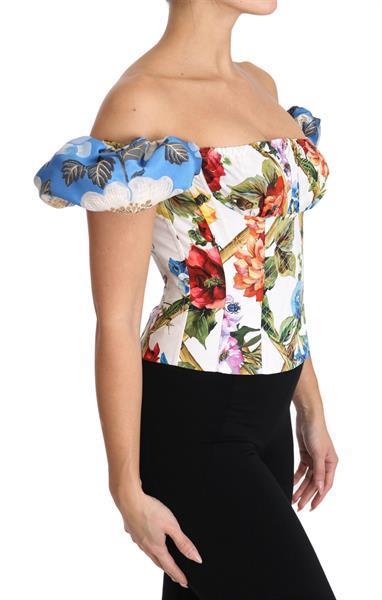 Grote foto dolce gabbana white floral cropped corset top blouse it38 kleding dames t shirts