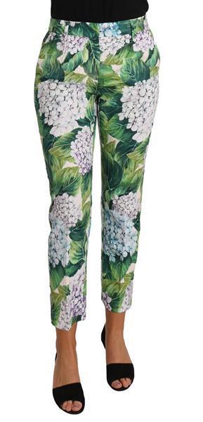 Grote foto dolce gabbana hydrangea print cropped brocade pants floral kleding dames spijkerbroeken en jeans