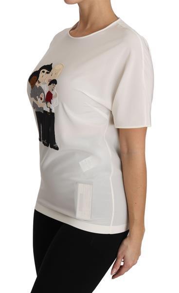 Grote foto dolce gabbana white silk stretch dgfamily t shirt it36 xx kleding dames t shirts