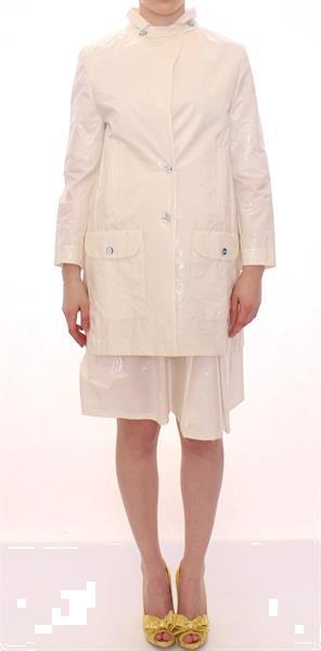 Grote foto licia florio white viscose button front jacket coat trench i kleding dames jassen zomer