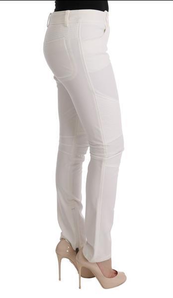 Grote foto ermanno scervino white cotton slim fit casual pants it40 s kleding dames spijkerbroeken en jeans