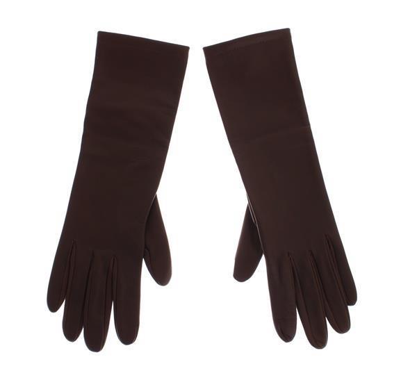 Grote foto dolce gabbana brown leather wrist slim womens gloves s kleding dames sieraden
